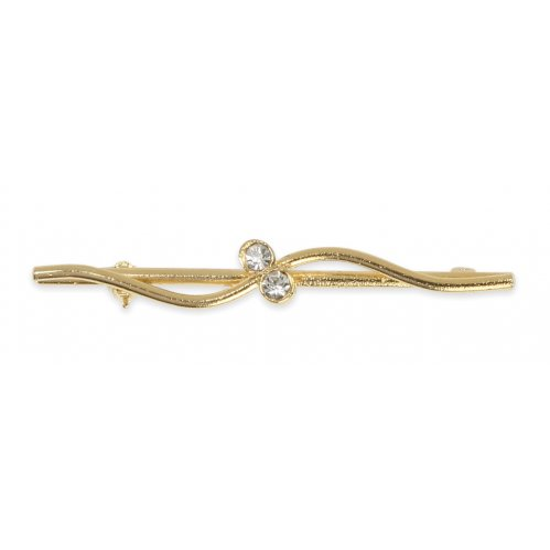 Shires Plated Stock Pin - Gold Wave with Diamante Studs